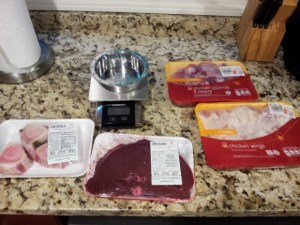 raw food diet food scale marrow bones beef liver chicken wings chicken hearts and gizzards