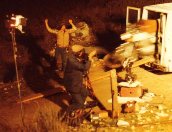 The motorcycle stunt scene, with Chris Senter busting out the back of a van had two cameras running but was not used in the final version