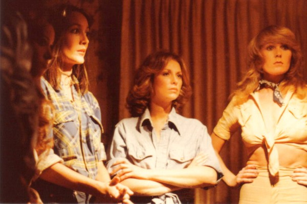 Reverse shot of the 'decision' scene with (l. to r.) Karen Stride, Cindy Donlan, Georgia Durante and Debbie Holder. Ms. Holder was an L.A. Rams cheerleader