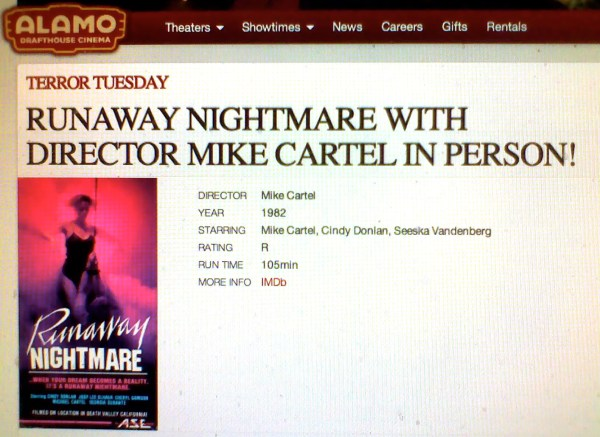 The Alamo Drafthouse Cinema with a handsomely designed site ad warning Texans about Cartel's arrival.