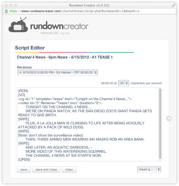 Script Formatting Rundown Creator web-based TV/radio rundown
