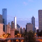 Chicago at dawn on marathon morning. Photo by Phil Hospod.