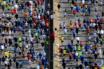 Runners in the New York City Marathon. Photo by Fergal Carr.