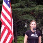 Karla Bruning sings the national anthem at the 2010 Continental Airlines Fifth Avenue Mile. (Photo: Phil Hospod.)