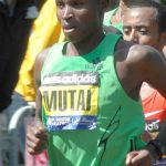 Geoffrey Mutai won the 2011 Boston Marathon in a world best time. Photo by George Roberts.