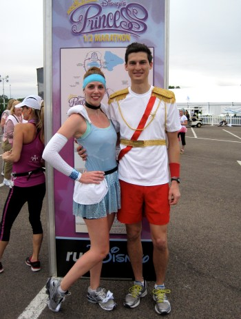 Easy Cinderella and Prince Charming Disney running costumes