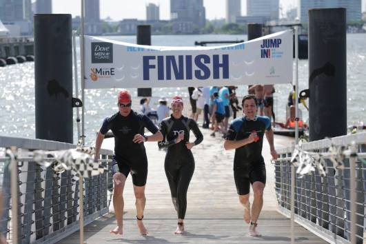Jumping in the Hudson at New Amsterdam City Swim