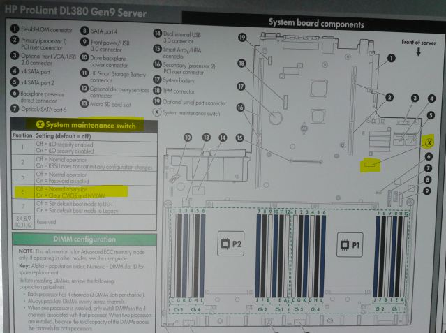 How to - clear or reset a HP Server Gen9 NVRAM using System