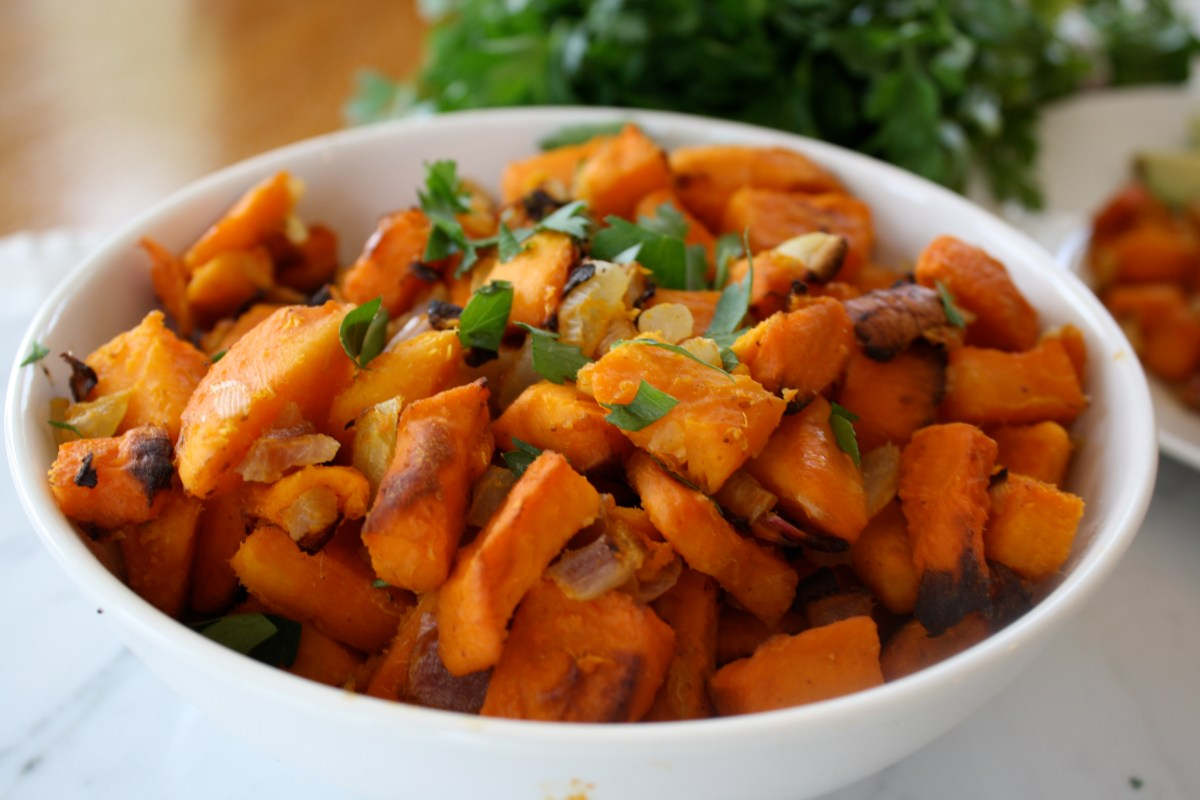 Oil Free Crispy Sweet Potato Hash With Mustard Lemon Shallot Dressing