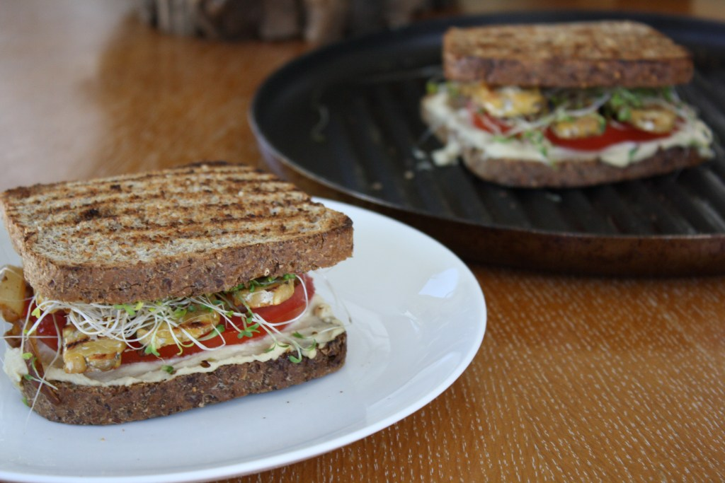 Toasted Hummus and Tempeh Sandwich