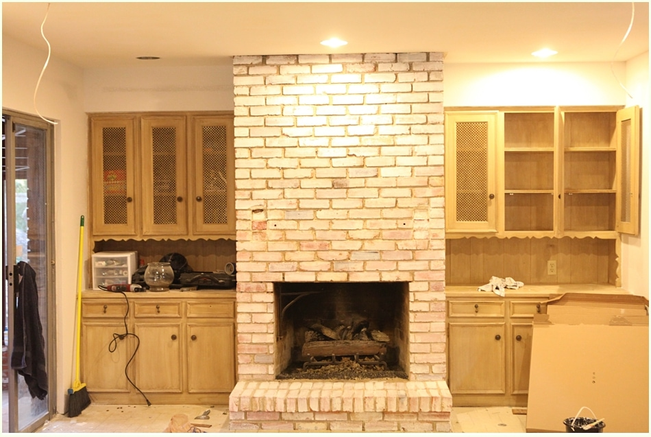 Whitewash brick fireplace diy white washing fireplace