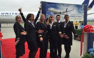 Crew for special all-women delivery flight.  In the center, First Officer Jann Lumbrazo and Captain Kimberly Noakes