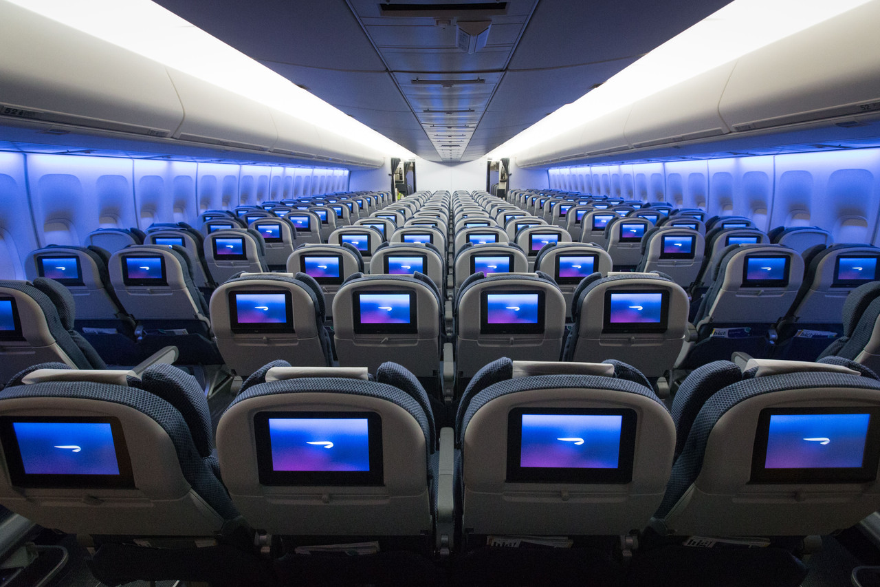 Mood lighting makes BA's relatively elderly 747s at least look newer. Image: BA