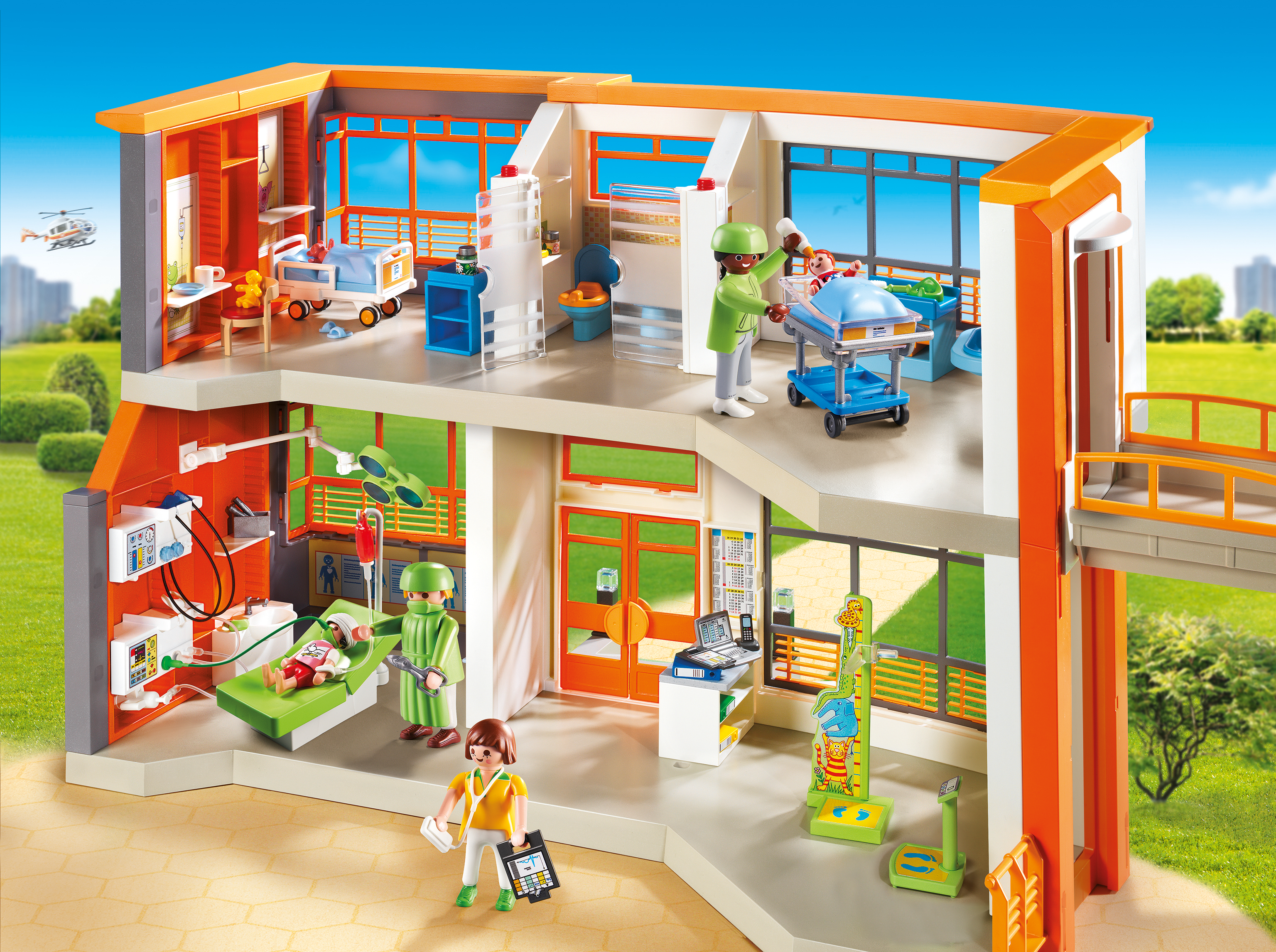 Playmobil furnished children 39 s hospital encourages for Salle de bain villa moderne playmobil