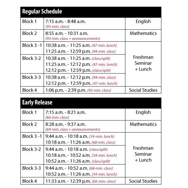 Bell Schedule Racine Unified School District - sample schedules - class schedule