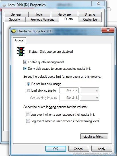 How to Restrict User Account Space in Windows 7 3
