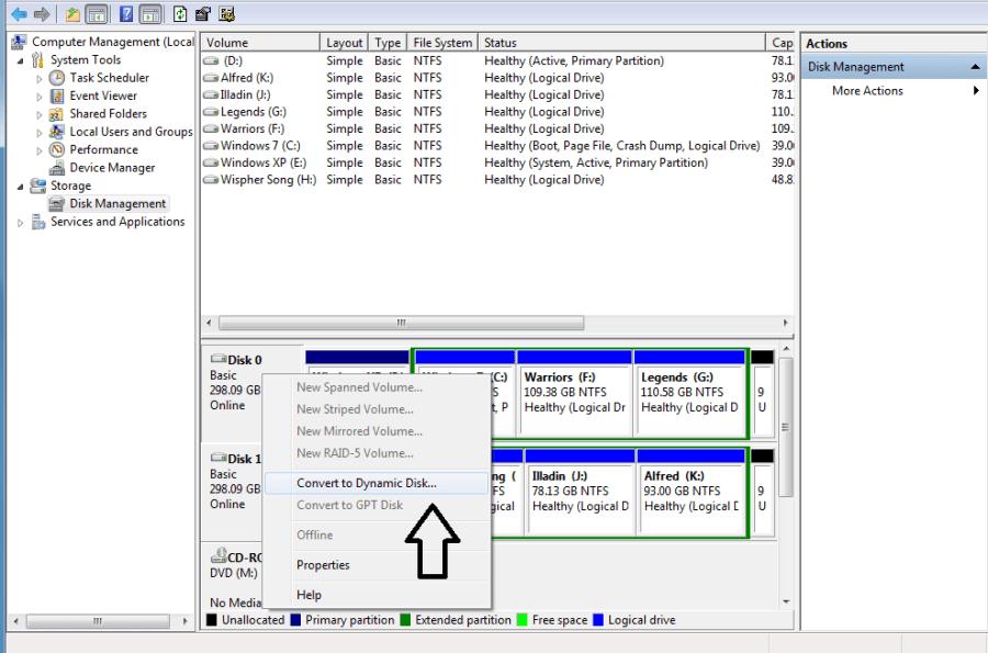 Convert basic disk into Dynamic disk