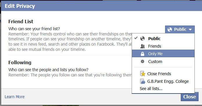 how to delete friends list on facebook