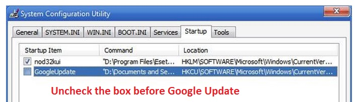How to Remove Googleupdate.exe - MSCONFIG