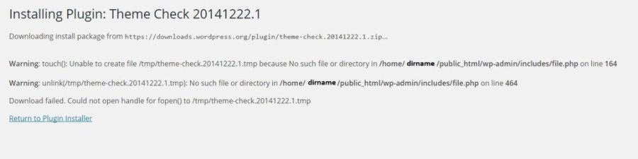 Wordpress Warning touch() Unable to create file Error