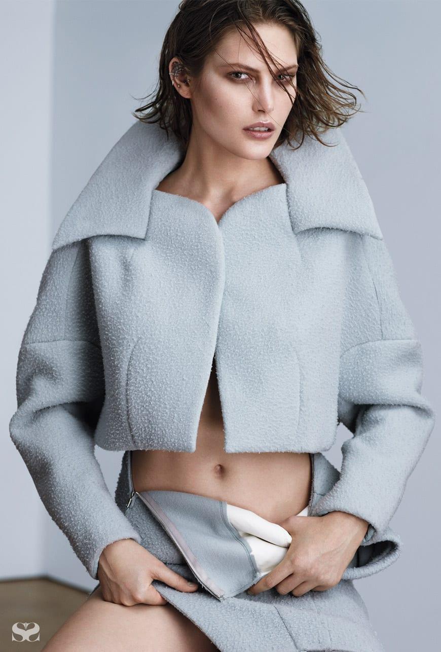 MULGER jacket and skirt.