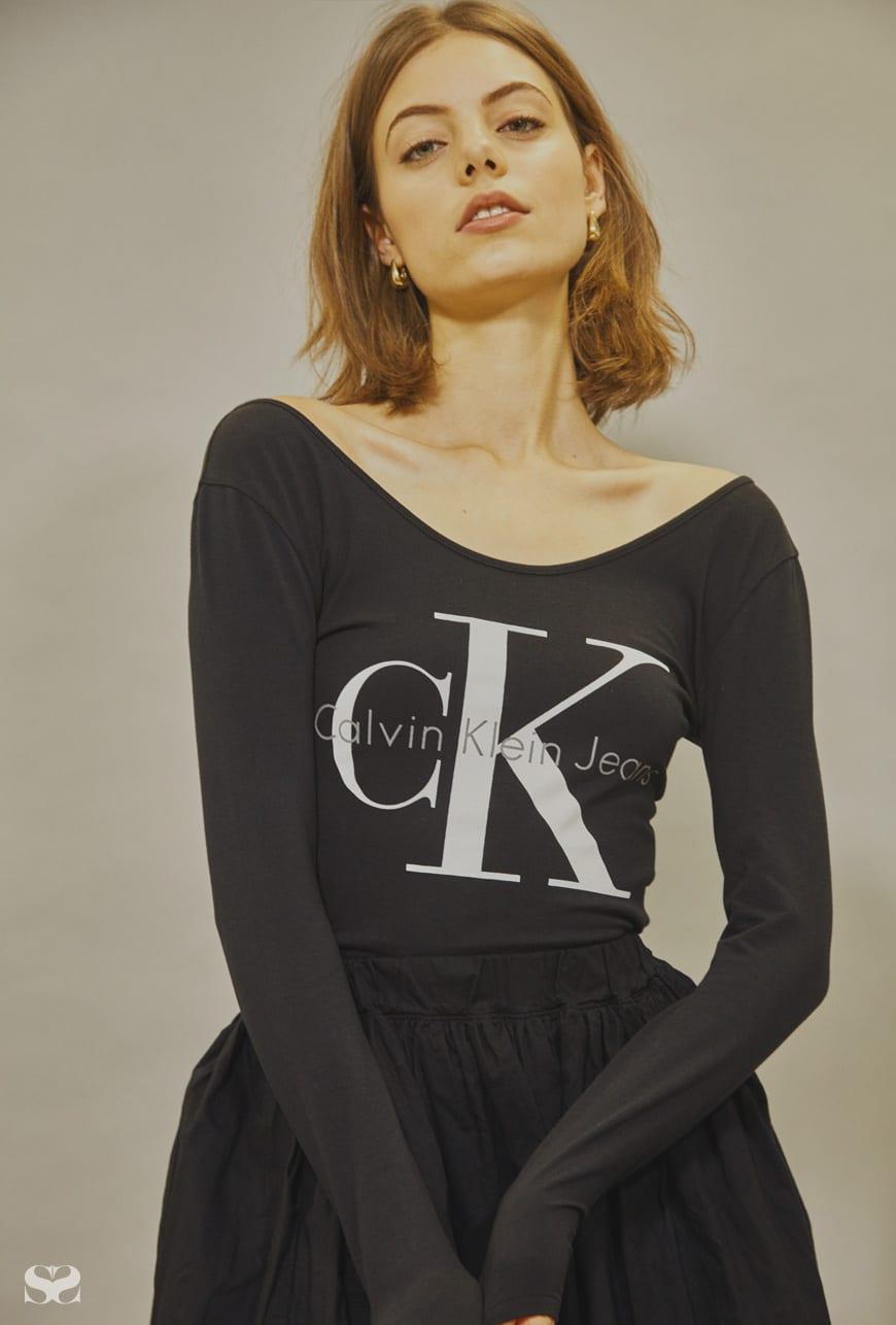 CALVIN KLEIN bodysuit; ORGANIC BY JOHN PATRICK skirt from My Chameleon.