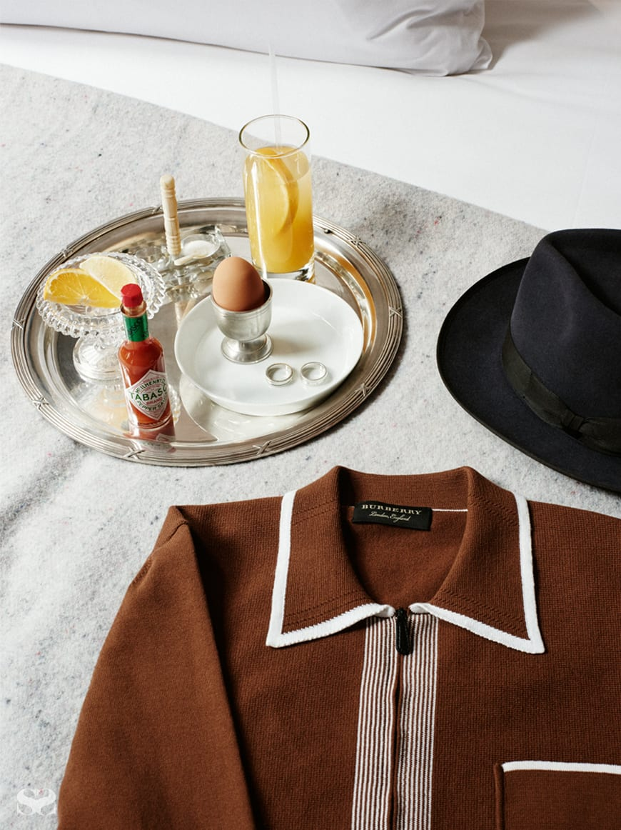 THOMAS SABO rings; hat from Strand Hatters; BURBERRY RUNWAY cardigan.