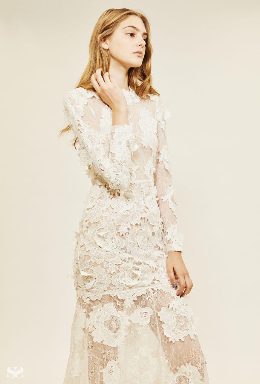 ASOS BRIDAL lace 3D floral fishtail maxi dress.