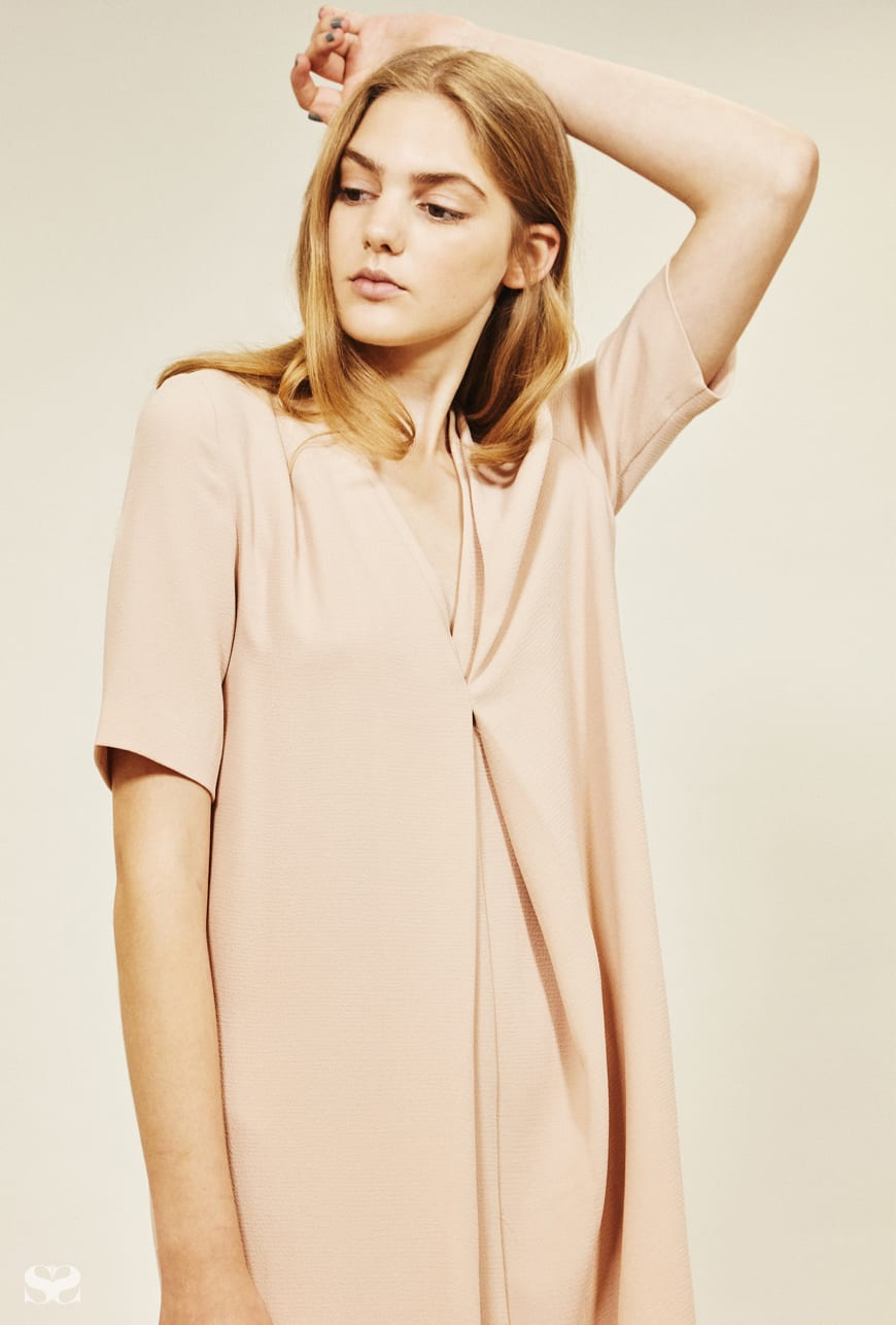 ASOS pink front-pleat dress.