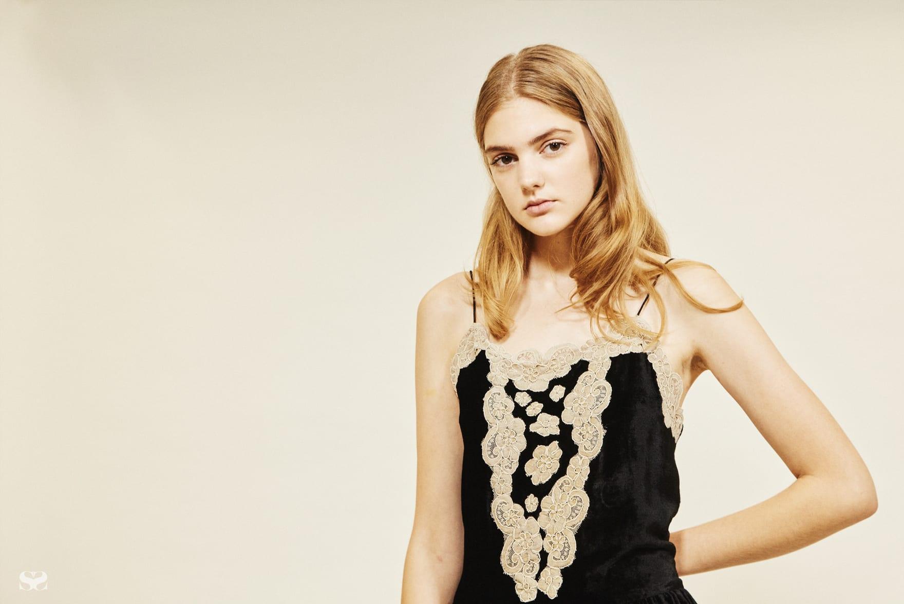 ASOS velvet slip dress with lace detail.
