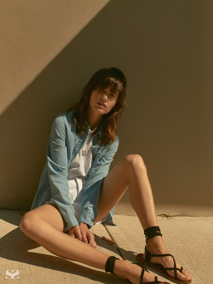 NOBODY DENIM shirt, top and shorts; WINDSOR SMITH shoes.