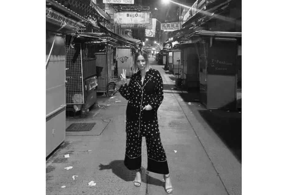 """I love feeling comfortable, especially in warmer climates like Hong Kong. This shot was taken on a night out wearing my pyjamas and heels."""