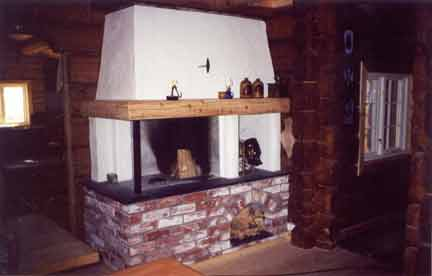 Fireplace In A Wooden House