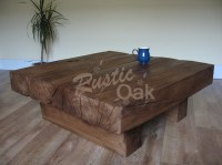 4 Beam Square Coffee Table - Rustic Oak