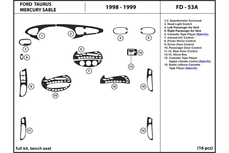 DL Auto® Ford Taurus 1996-1999 Dash Kits