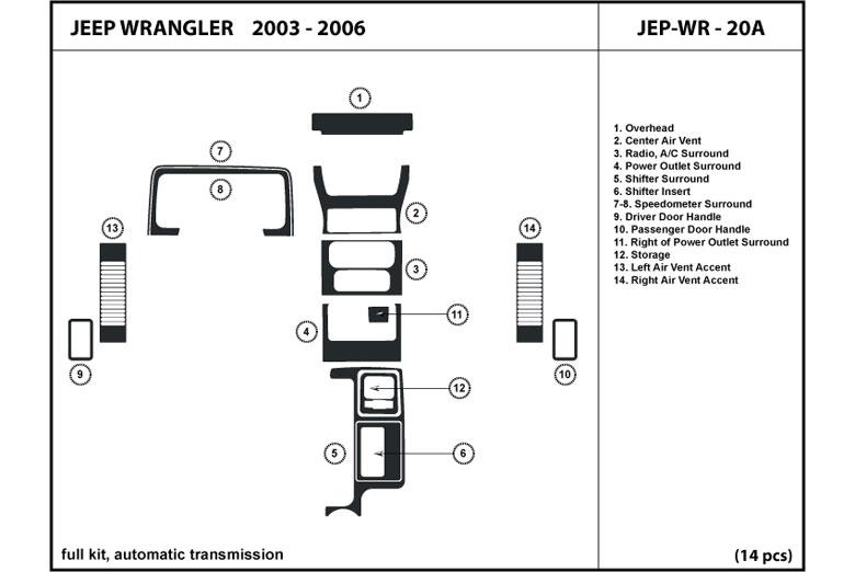 DL Auto® Jeep Wrangler 2003-2006 Dash Kits