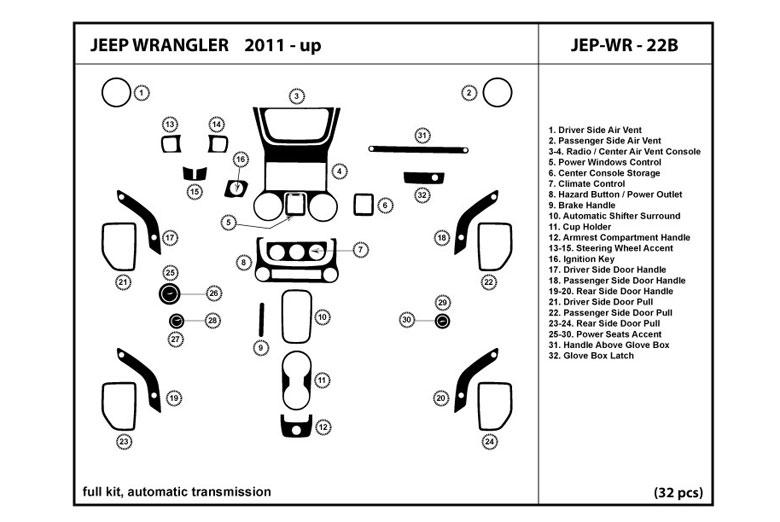 DL Auto® Jeep Wrangler 2011-2013 Dash Kits