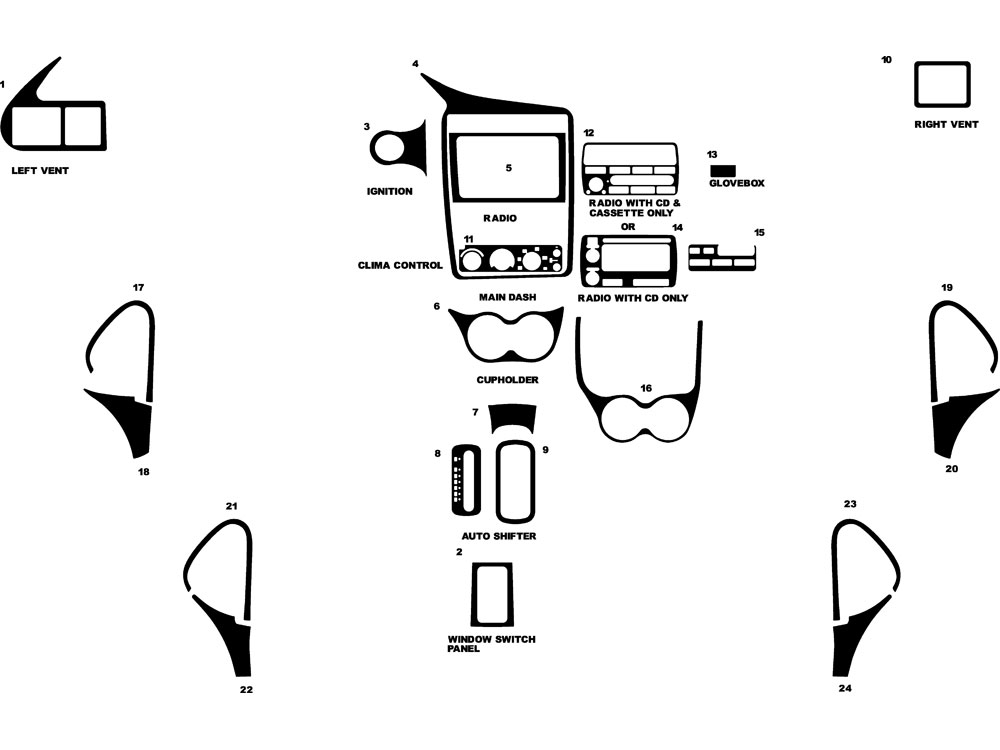 Chevrolet Cavalier 2000-2005 Dash Kits DIY Dash Trim Kit