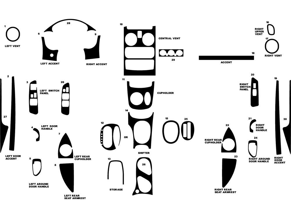 Dodge Stratus Coupe 2001-2002 Dash Kits DIY Dash Trim Kit