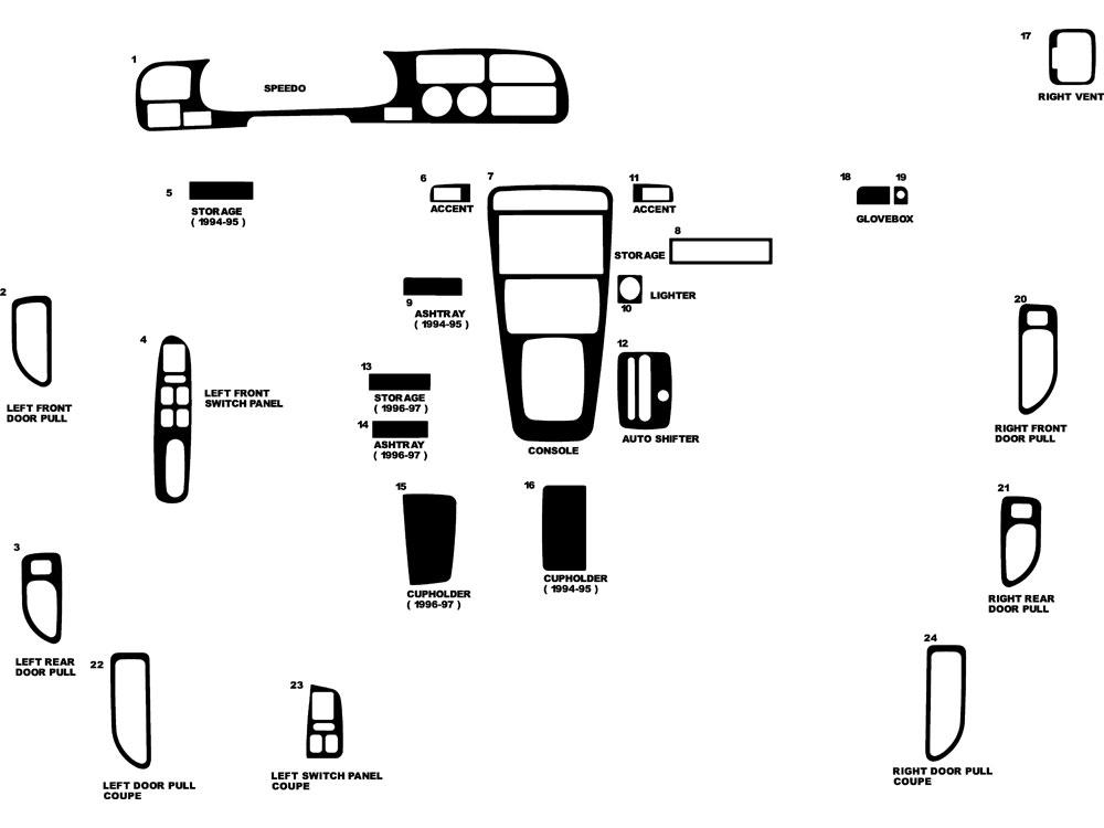 Honda Accord 1994-1997 Dash Kits DIY Dash Trim Kit
