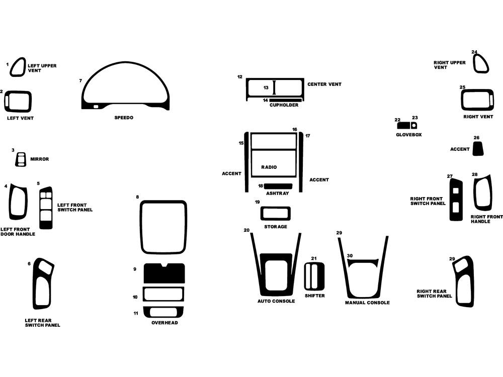 Subaru Forester 1998-2002 Dash Kits DIY Dash Trim Kit