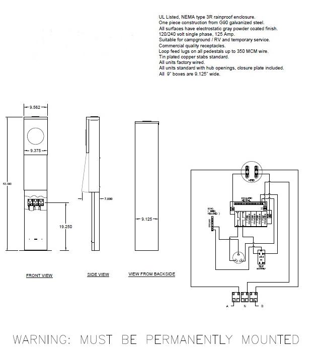 30, 20 amp RV Pedestal with Pad Mount Bracket and Meter Socket - RV