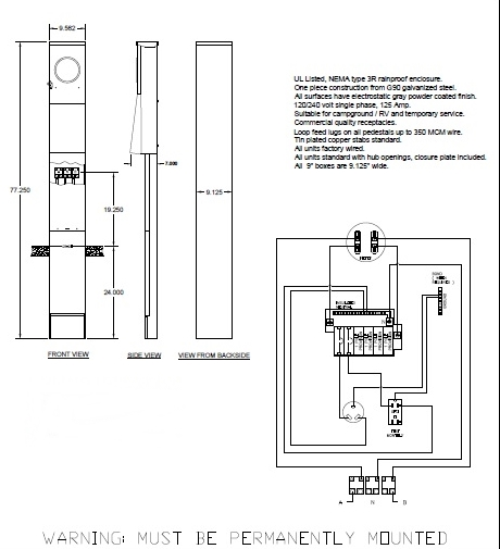 30, 20 amp Direct Burial Pedestal RV Power Box with Meter Socket