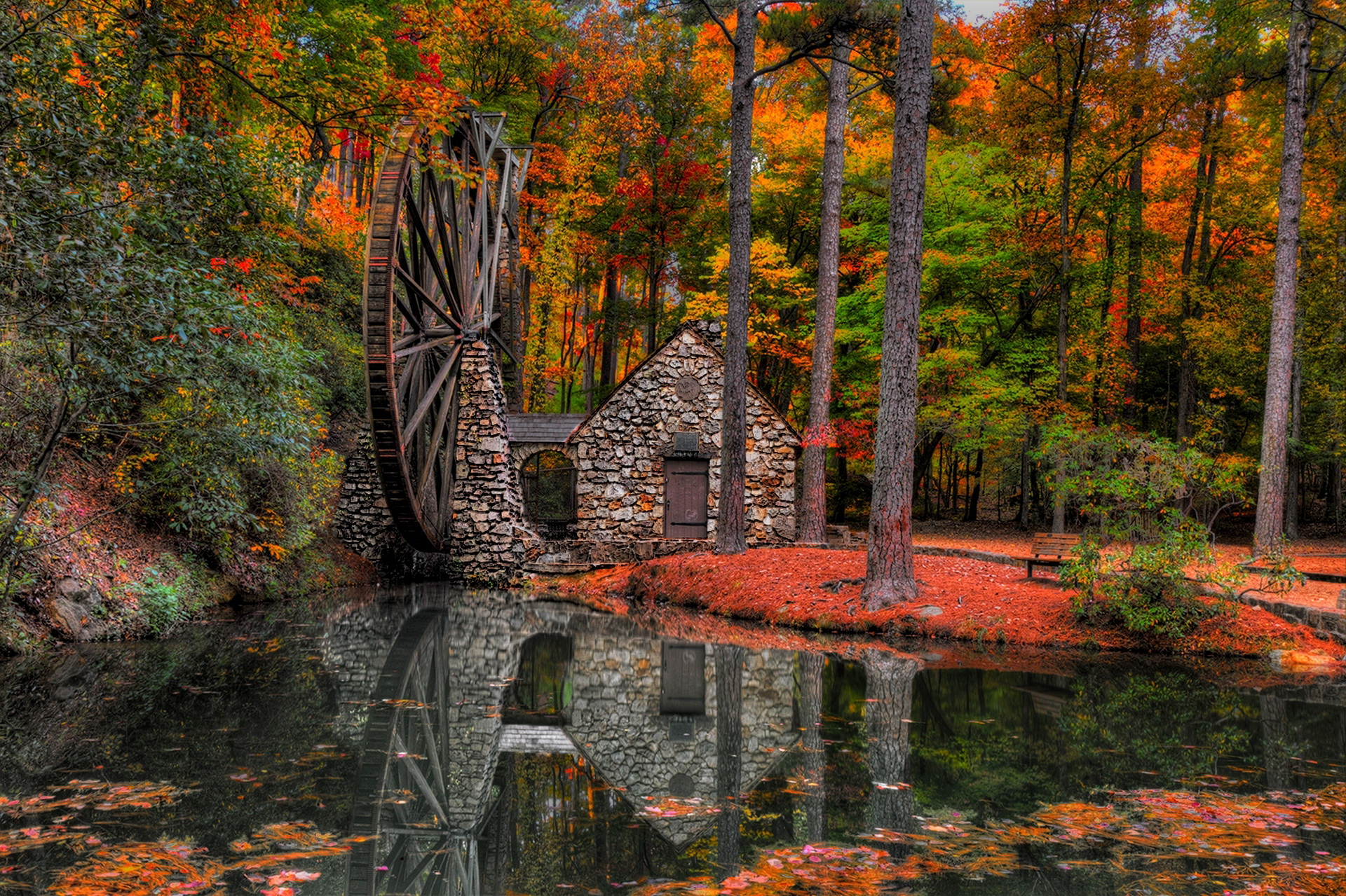 Free Fall Bc Nature Wallpaper Old Water Mill Magical Autumn Color Rv Wheel Life