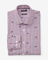 Tailored fit dress shirt with dog print check | RW&CO.