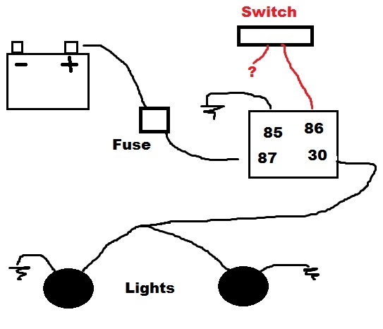off road lights after the power relay or switch to the lights