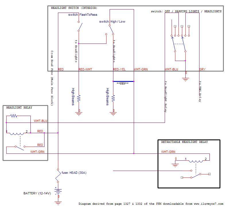 Headlight wiring mod low beams + high beams - RX7Club - Mazda