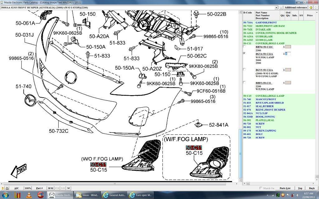 Mazda Parts Diagram Index listing of wiring diagrams