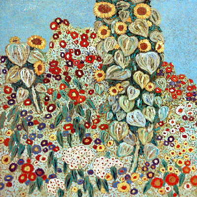 A reproduction of Gustav Klimt's Farm Garden with Sunflowers by Adam Rzasa