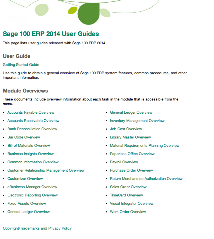 Sage 100 ERP 2014 User Manuals and Guides Online